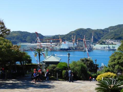 グラバー園から三菱造船所を眺める